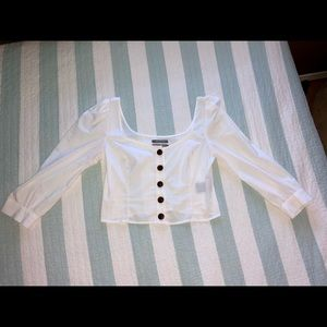 Urban Outfitters White Cropped Blouse